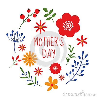 Free Beautiful Floral Frame Design On Mothers Day Isolated On White Background Royalty Free Stock Images - 107645469