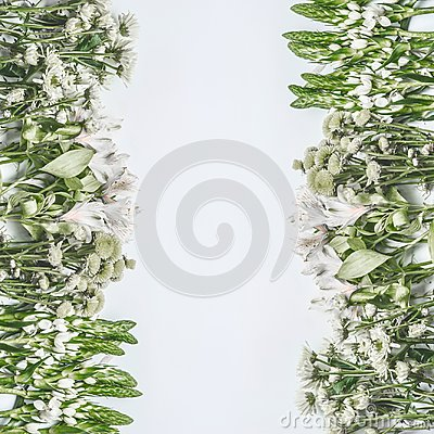 Free Beautiful Floral Frame Layout With Green Flowers On White Background Royalty Free Stock Image - 117055766
