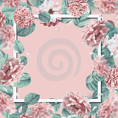 Free Beautiful Floral Frame With Falling Or Flying Pink Flowers And Leaves At Pastel Background. Royalty Free Stock Image - 112326636