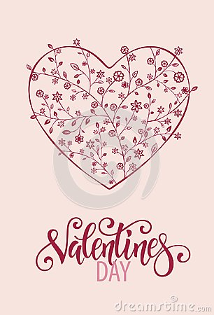 Free Beautiful Floral Heart With Lettering. Valentine Card Royalty Free Stock Photography - 109667717