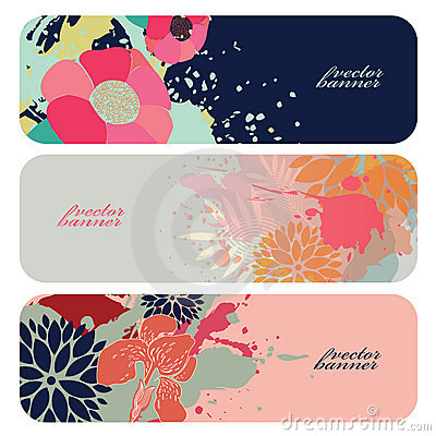 Beautiful floral horizontal vector banners