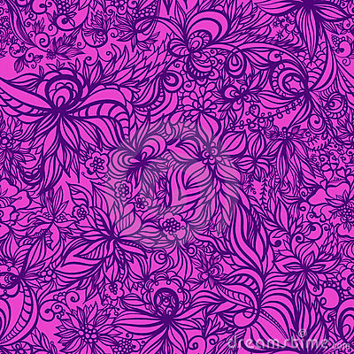 Beautiful  floral seamless pattern with swirls