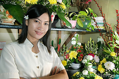 Beautiful florist at work