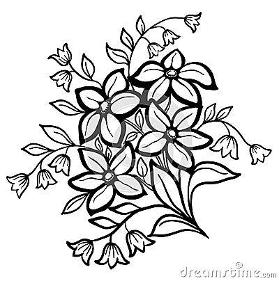 Flower Arrangement A Black Outline On White Background