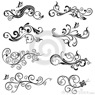 Beautiful flower and butterfly silhouettes design