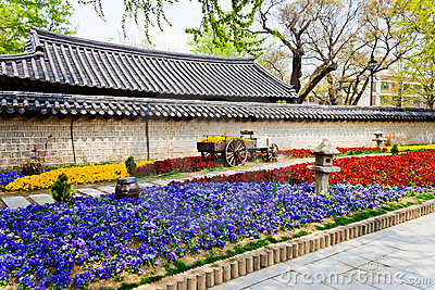 Beautiful flowers in front of a Korean Temple