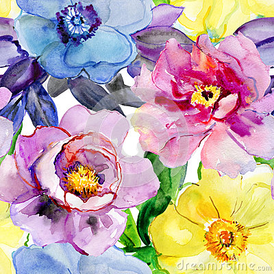 Free Beautiful Flowers, Watercolor Illustration. Royalty Free Stock Image - 44400626