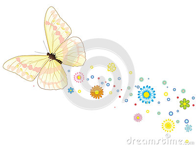 Number Names Worksheets butterfly trace : Beautiful Flying Butterfly With A Trace Of Flowers Royalty Free ...