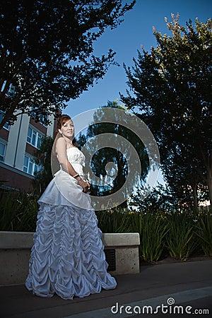 Beautiful forties asian woman bride