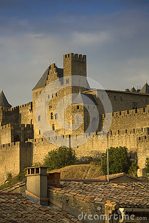 Golden evening at Carcassonne, France