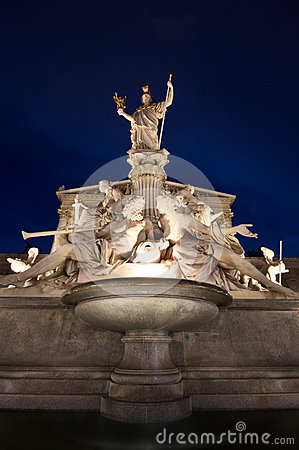 The beautiful fountain of Athena - Vienna landmark