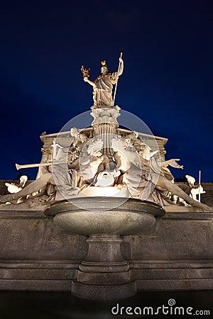 The beautiful fountain of Athena - Vienna landmark