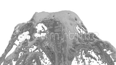 Beautiful fountain grey liquid splash, fountain 3d on white background with alpha matte. Many paint streams rising high Stock Photo