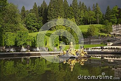 Beautiful fountain in Linderhof Castle, Germany