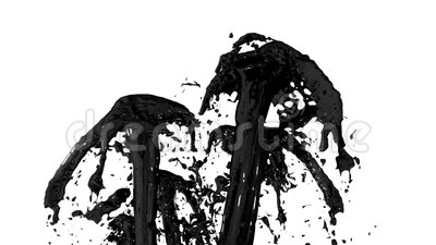 Beautiful fountain spray liquid like black paint or oil, fountain with many liquid streams rising high. 3d render with Stock Photo