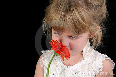 Beautiful Four Year Old Girl Smelling Flower Against Black Backg