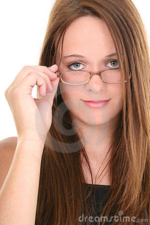Beautiful Fourteen Year Old Teen Looking Over Eyeglasses