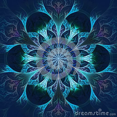 Free Beautiful Fractal Flower In Blue And Black. Computer Generated G Stock Image - 38189441