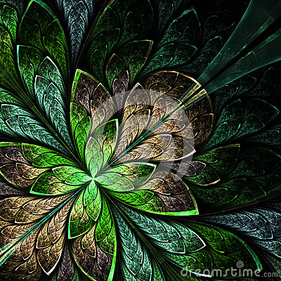Free Beautiful Fractal Flower In Green And Beige. Computer Generated Royalty Free Stock Photos - 36407828