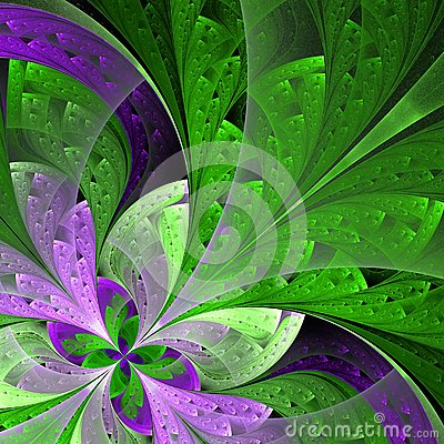 Free Beautiful Fractal Flower In Green And Purple. Royalty Free Stock Photography - 33164517