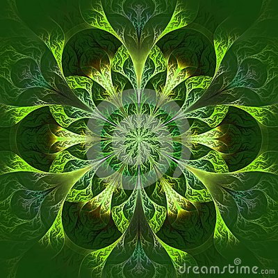 Free Beautiful Fractal Flower In Green And Yellow. Computer Generated Royalty Free Stock Image - 38312146