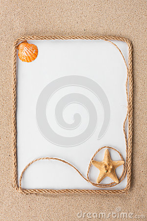 Free Beautiful Frame Of Rope And Star And Sea Shells With A White Background On The Sand Stock Photography - 68158042