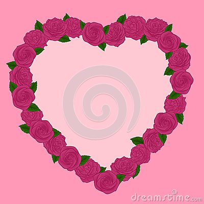 Beautiful frame of pink roses heart