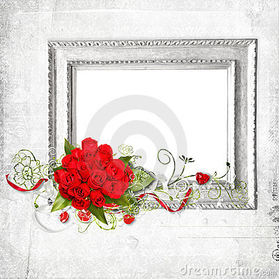 Beautiful frame with red roses