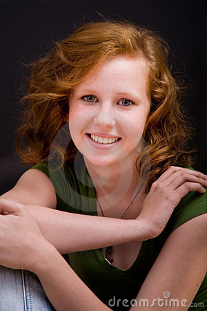 Beautiful freckled teen girl