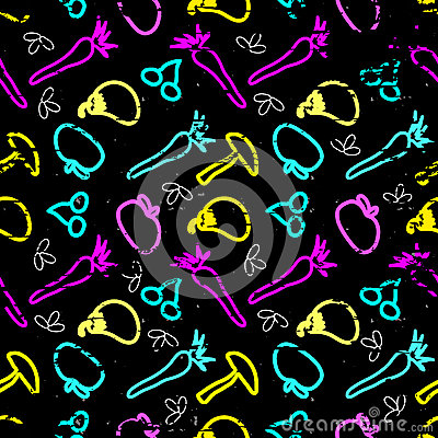 Free Beautiful Fruits And Vegetables Graffiti On A Black Background Seamless Pattern Grunge Texture Royalty Free Stock Image - 68875876