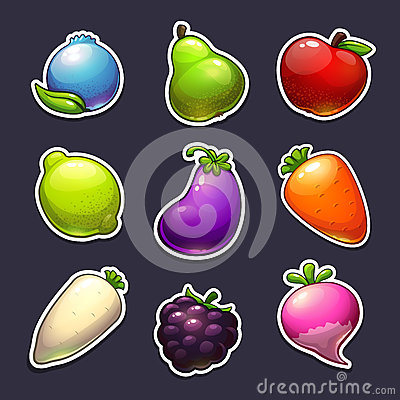 Free Beautiful Fruits, Berries And Vegetables Stickers Royalty Free Stock Photos - 81774578