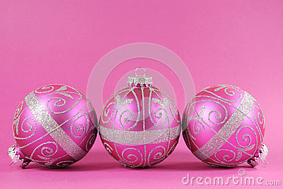 Beautiful fuchsia pink festive bauble ornaments