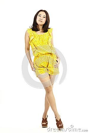 Beautiful full body asian woman portrait