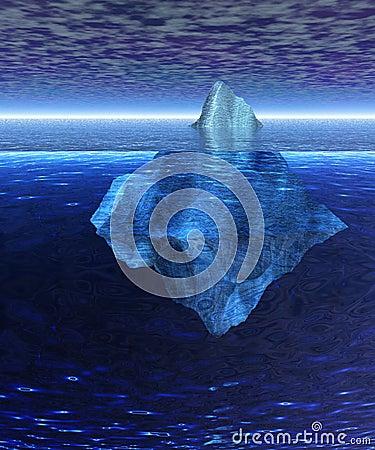 Beautiful Full Floating Iceberg in the Open Ocean