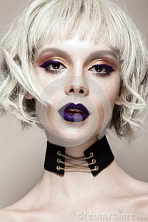 Free Beautiful Funny Girl In A White Wig, With Creative Art Make-up And Freckles. Beauty Face. Royalty Free Stock Image - 89566826