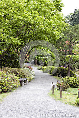 Beautiful garden path in Japanese Garden