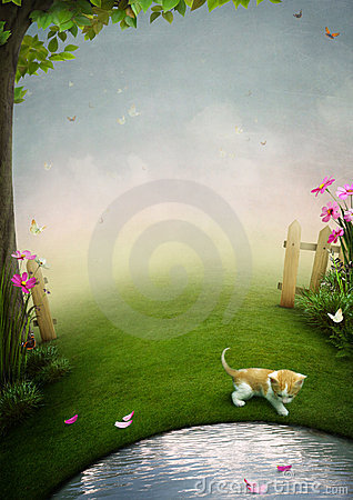 A beautiful garden with a pond, a kitten and butte