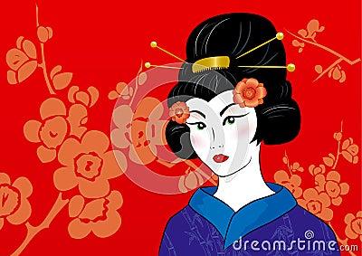 Beautiful geisha in a kimono