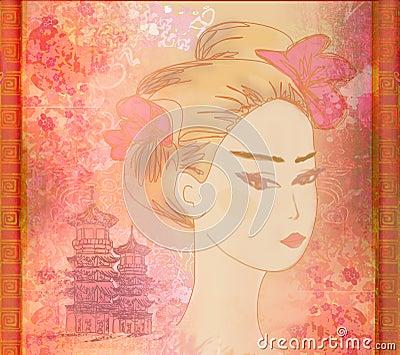 Beautiful geisha Portrait