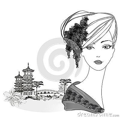 Beautiful geisha Portrait and asian landscape