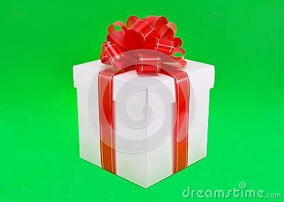 Beautiful gift box with red bow.