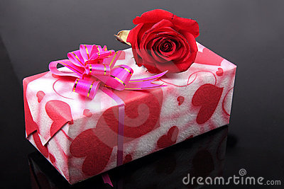Beautiful gift box with rose