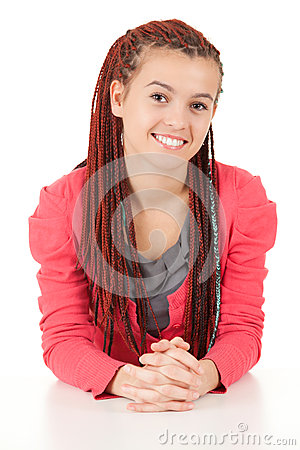 Beautiful girl with african plaits
