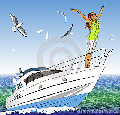 Beautiful girl with arms outstretched on yacht dec Cartoon Illustration