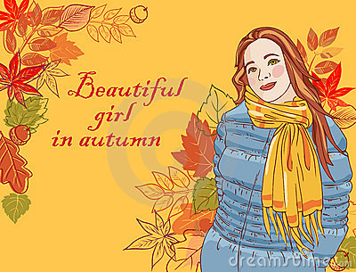 Beautiful girl in autumn