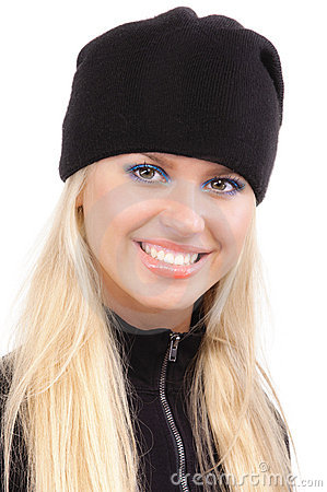 Beautiful girl in black cap