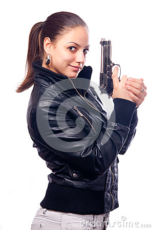 Beautiful girl in black leather jacket and beretta