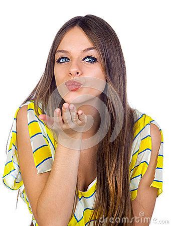 Beautiful Girl Blowing a Kiss