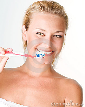 Free Beautiful Girl Brushing Her Teeth Stock Photos - 14654253
