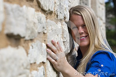 Beautiful girl on a building